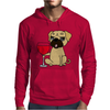Funny Awesome Pug Drinking Red Wine Mens Hoodie