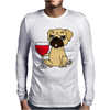 Funny Awesome Pug Drinking Red Wine Mens Long Sleeve T-Shirt