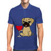 Funny Awesome Pug Drinking Red Wine Mens Polo