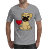 Funny Awesome Pug Drinking Red Wine Mens T-Shirt