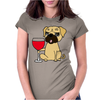 Funny Awesome Pug Drinking Red Wine Womens Fitted T-Shirt