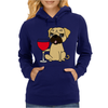 Funny Awesome Pug Drinking Red Wine Womens Hoodie