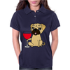 Funny Awesome Pug Drinking Red Wine Womens Polo