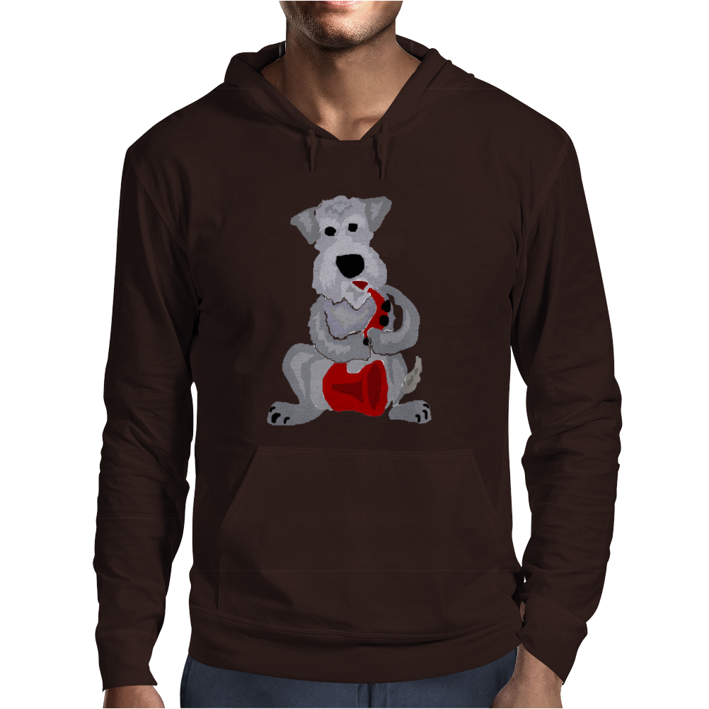 Funny Awesome Schnauzer Dog Playing Red Saxophone Art Mens Hoodie