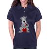 Funny Awesome Schnauzer Dog Playing Red Saxophone Art Womens Polo