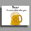 Funny Beer Cures What Ales You Cartoon Poster Print (Landscape)
