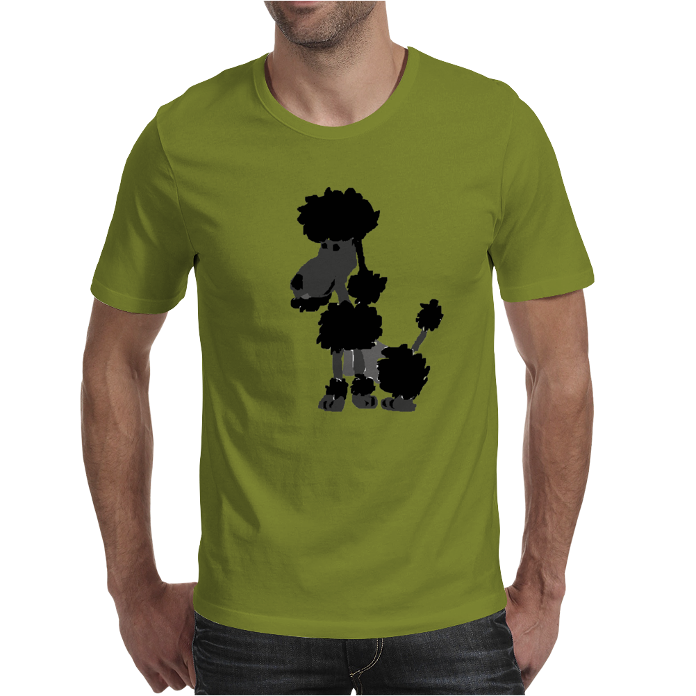 Funny Black Poodle Original Artwork Mens T-Shirt