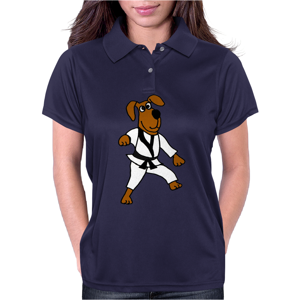 Funny Brown Dog Doing Karate Womens Polo