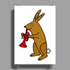 Funny Brown Rabbit Playing Trumpet Art Poster Print (Portrait)