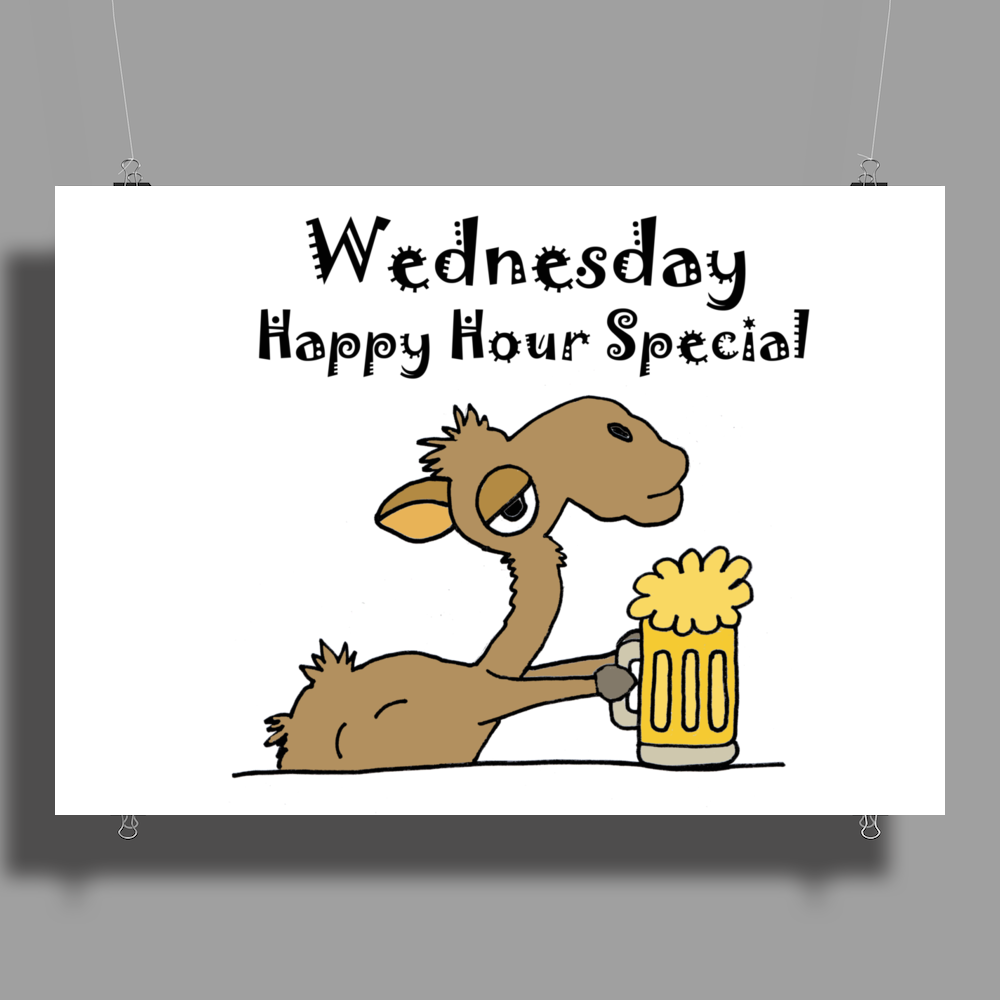 Funny Camel Drinking Beer Cartoon Poster Print (Landscape)
