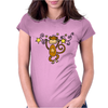 Funny Chinese Zodiac Monkey and Stars Womens Fitted T-Shirt