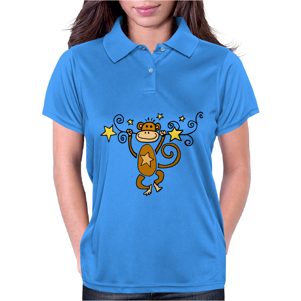 Funny Chinese Zodiac Monkey and Stars Womens Polo