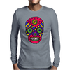 Funny Colorful Gothic Skull Original Art Design Mens Long Sleeve T-Shirt