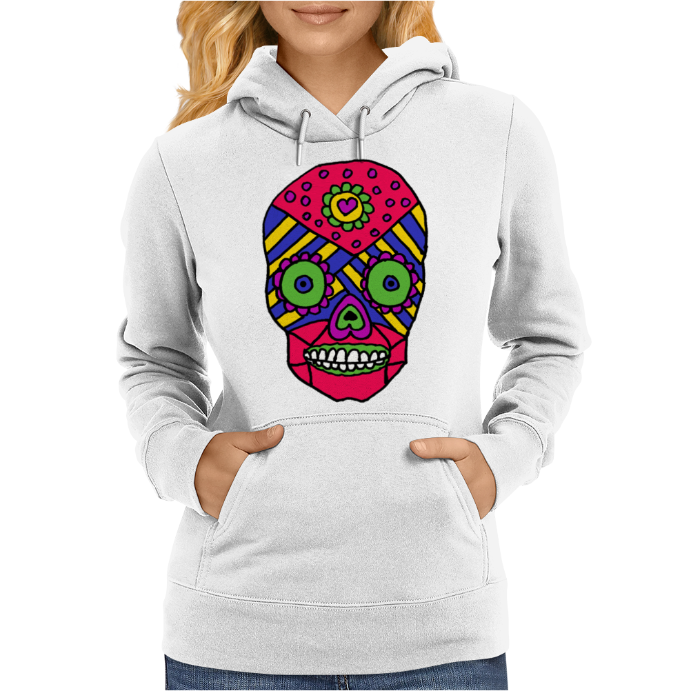 Funny Colorful Gothic Skull Original Art Design Womens Hoodie