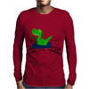 Funny Cute Green T-Rex Dinosaur Riding a Roller Coaster Art Mens Long Sleeve T-Shirt