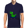 Funny Cute Green T-Rex Dinosaur Riding a Roller Coaster Art Mens Polo