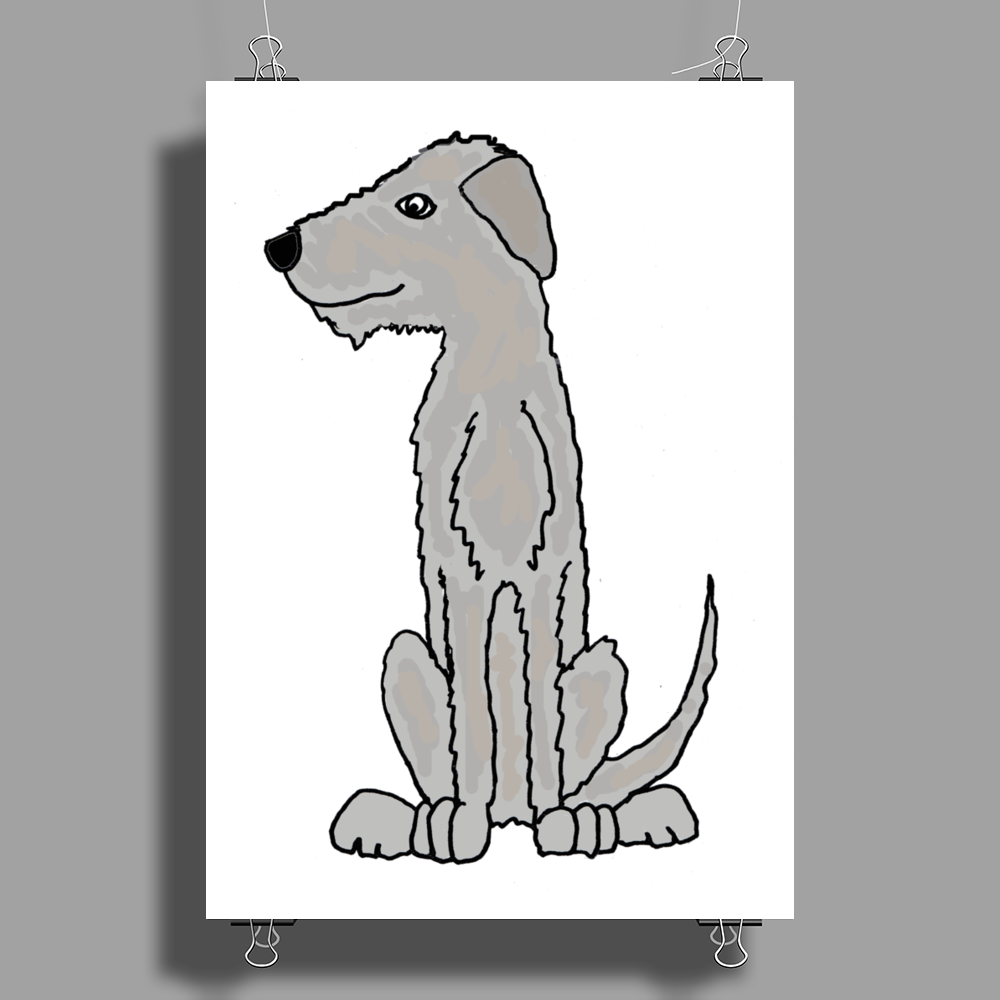 Funny Cute Irish Wolfhound Dog Art Poster Print (Portrait)