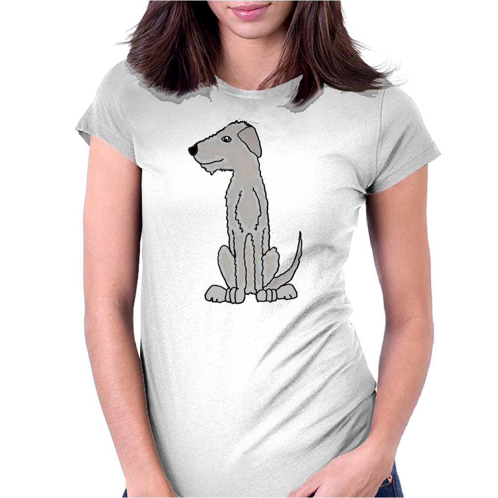 Funny Cute Irish Wolfhound Dog Art Womens Fitted T-Shirt