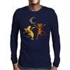 Funny Dancing in the Moonlight Dog and Cat Mens Long Sleeve T-Shirt