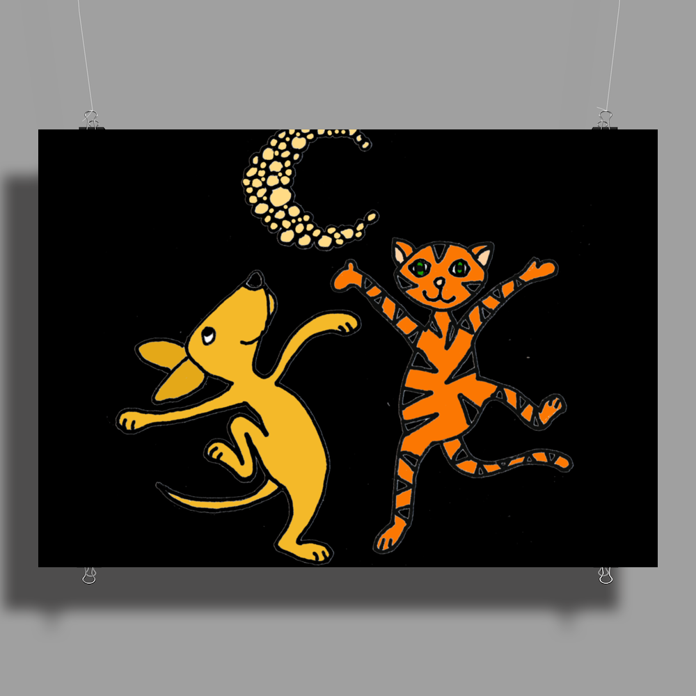 Funny Dancing in the Moonlight Dog and Cat Poster Print (Landscape)