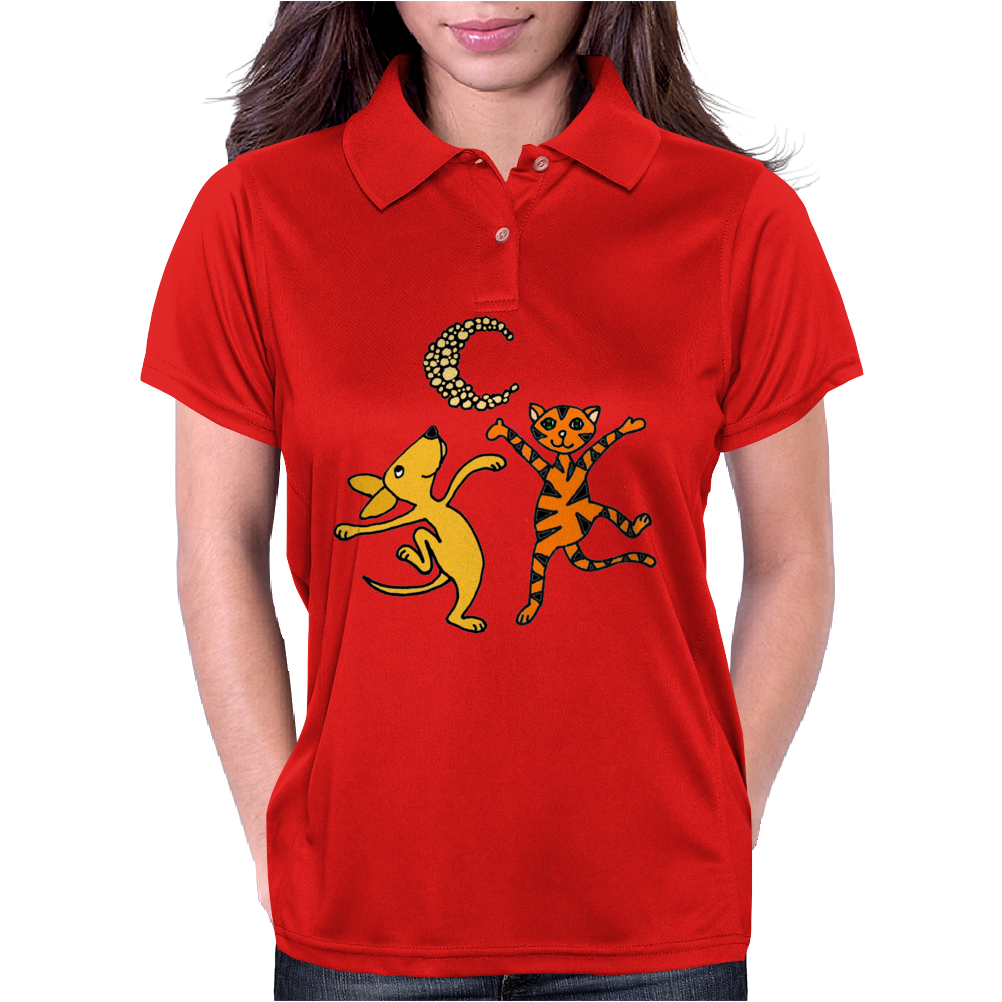 Funny Dancing in the Moonlight Dog and Cat Womens Polo