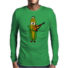 Funny Ear of Corn Playing Fiddle Mens Long Sleeve T-Shirt