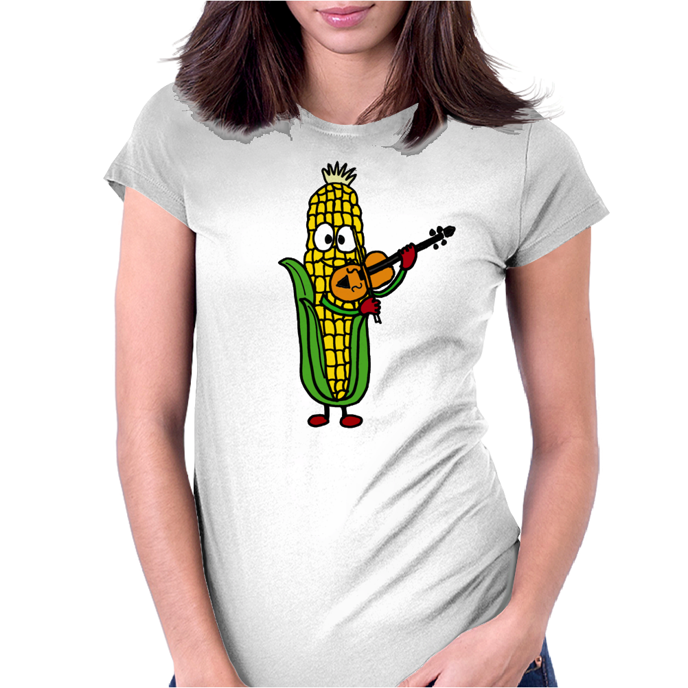 Funny Ear of Corn Playing Fiddle Womens Fitted T-Shirt