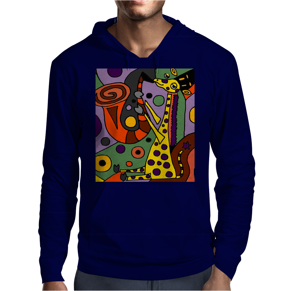 Funny Funky Abstract Art Giraffe Playing Saxophone Mens Hoodie