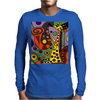 Funny Funky Abstract Art Giraffe Playing Saxophone Mens Long Sleeve T-Shirt