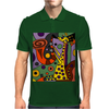 Funny Funky Abstract Art Giraffe Playing Saxophone Mens Polo