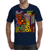 Funny Funky Abstract Art Giraffe Playing Saxophone Mens T-Shirt