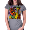 Funny Funky Abstract Art Giraffe Playing Saxophone Womens Fitted T-Shirt