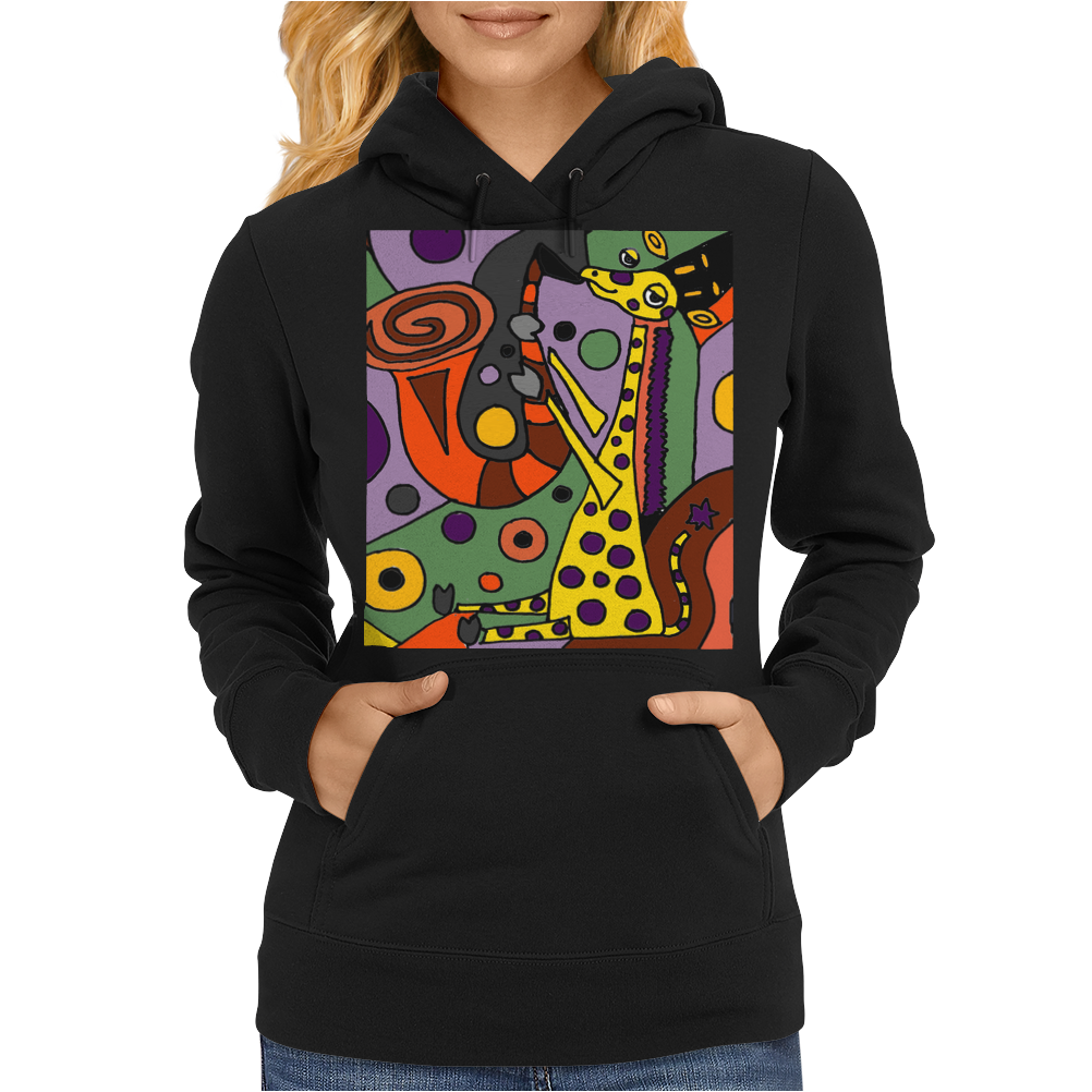 Funny Funky Abstract Art Giraffe Playing Saxophone Womens Hoodie