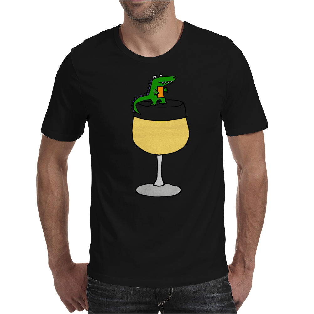 Funny Funky Alligator on Wine Glass Mens T-Shirt