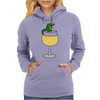 Funny Funky Alligator on Wine Glass Womens Hoodie