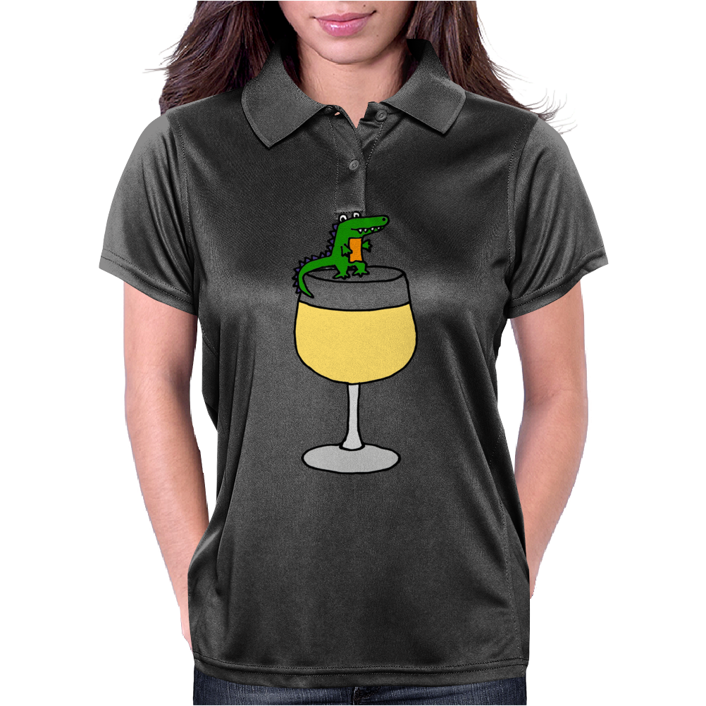 Funny Funky Alligator on Wine Glass Womens Polo
