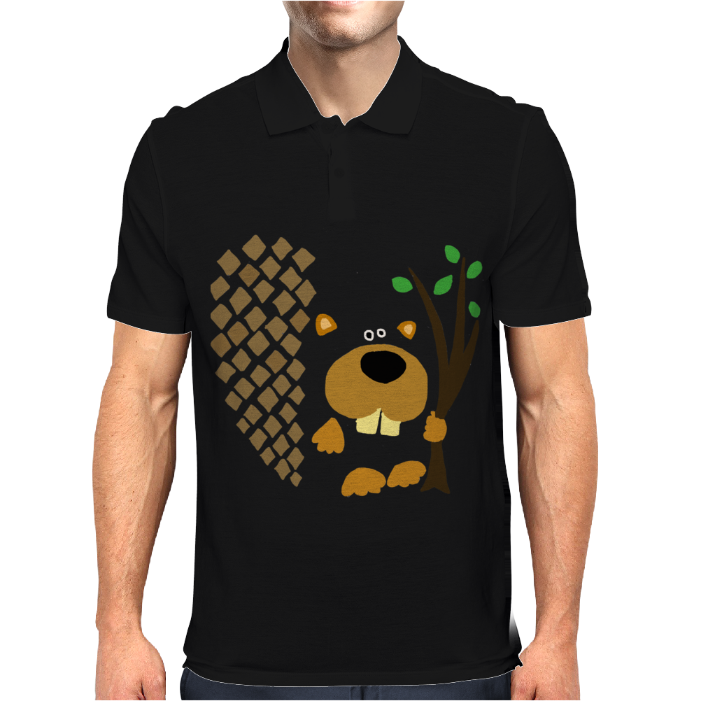 Funny Funky Beaver Abstract Art Mens Polo