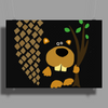 Funny Funky Beaver Abstract Art Poster Print (Landscape)
