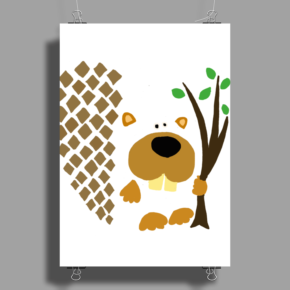 Funny Funky Beaver Abstract Art Poster Print (Portrait)