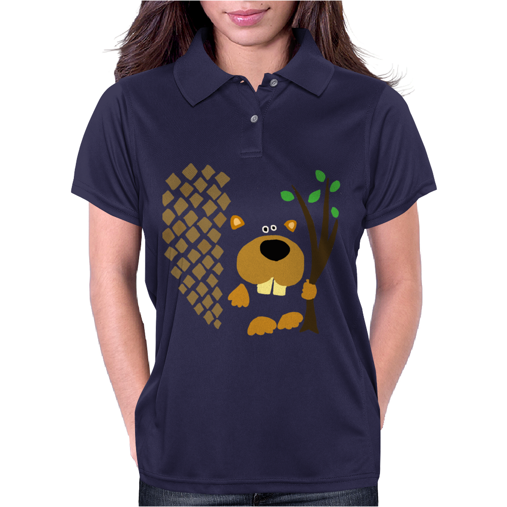 Funny Funky Beaver Abstract Art Womens Polo
