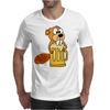 Funny Funky Beaver Drinking Beer Mens T-Shirt