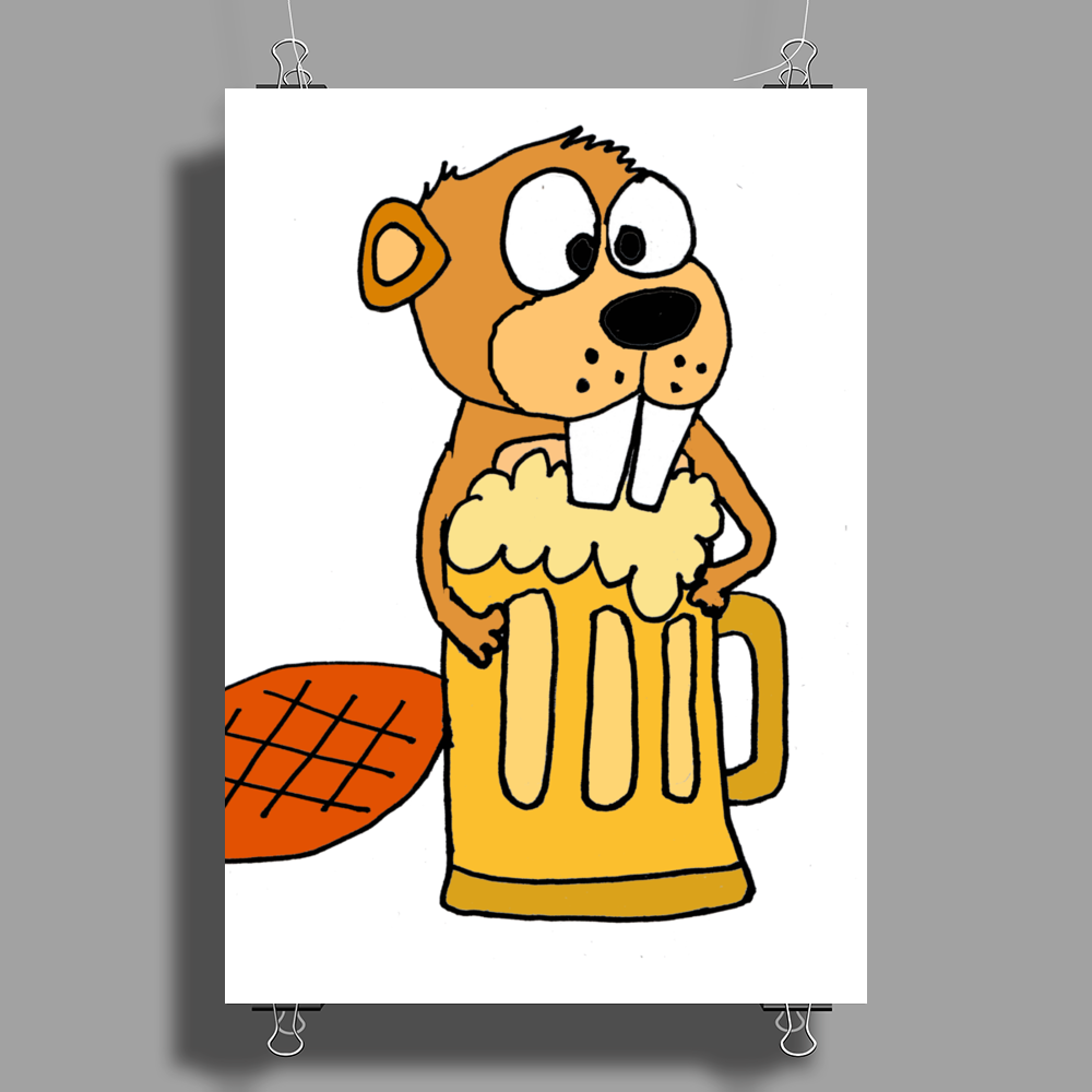 Funny Funky Beaver Drinking Beer Poster Print (Portrait)