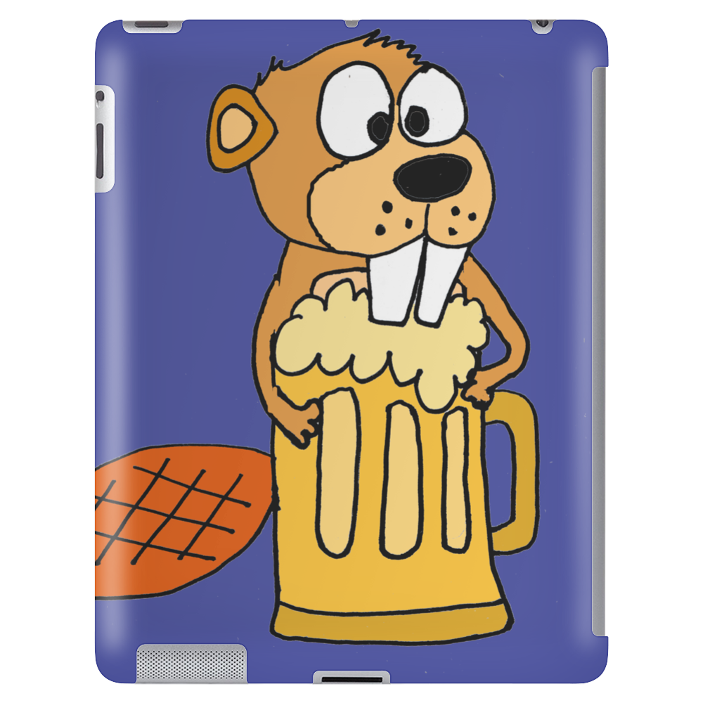 Funny Funky Beaver Drinking Beer Tablet