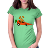 Funny Funky Brown Rabbit Driving Carrot Car Womens Fitted T-Shirt