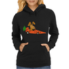 Funny Funky Brown Rabbit Driving Carrot Car Womens Hoodie