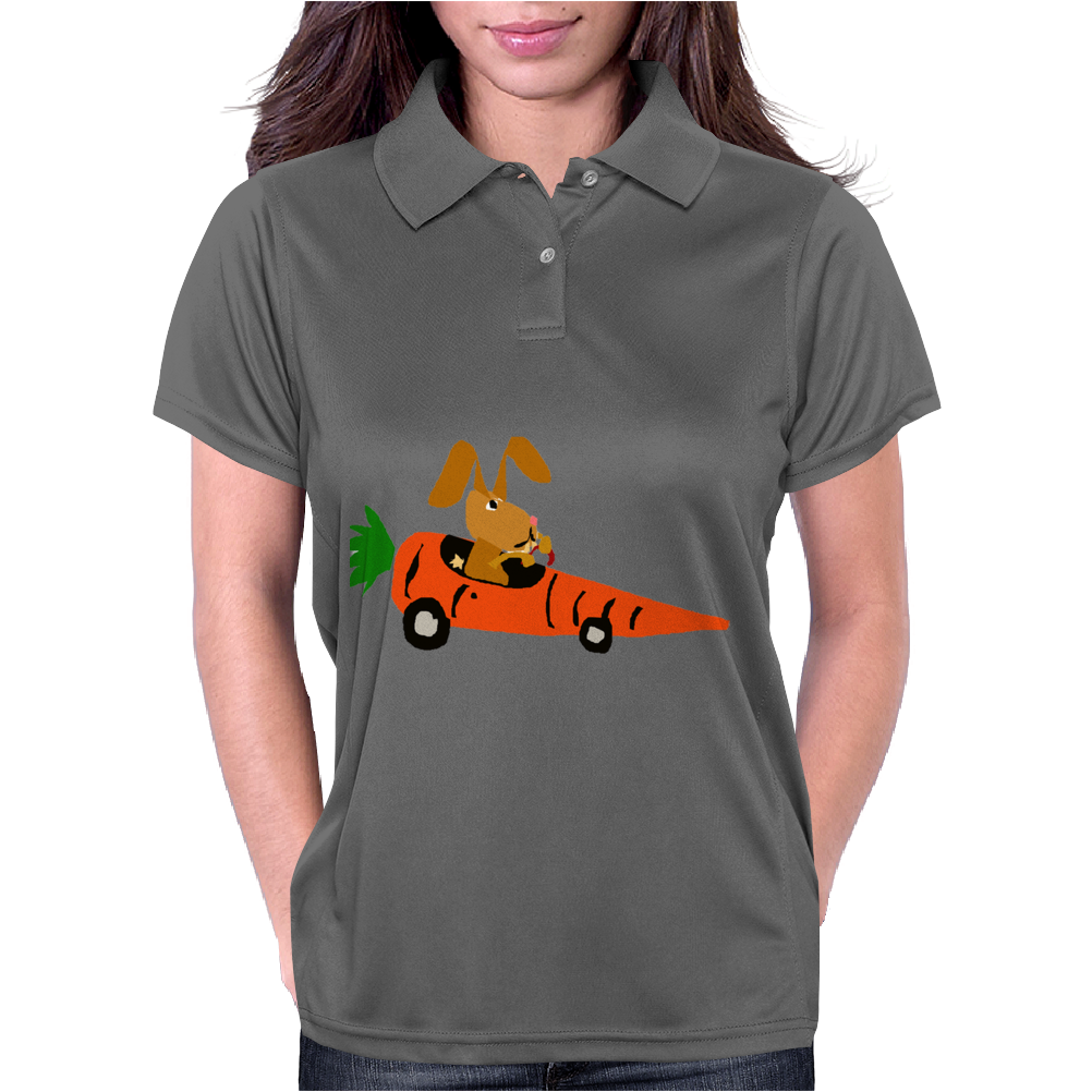 Funny Funky Brown Rabbit Driving Carrot Car Womens Polo