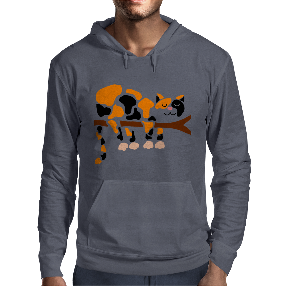 Funny Funky Calico Cat in Tree Art Mens Hoodie