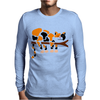 Funny Funky Calico Cat in Tree Art Mens Long Sleeve T-Shirt