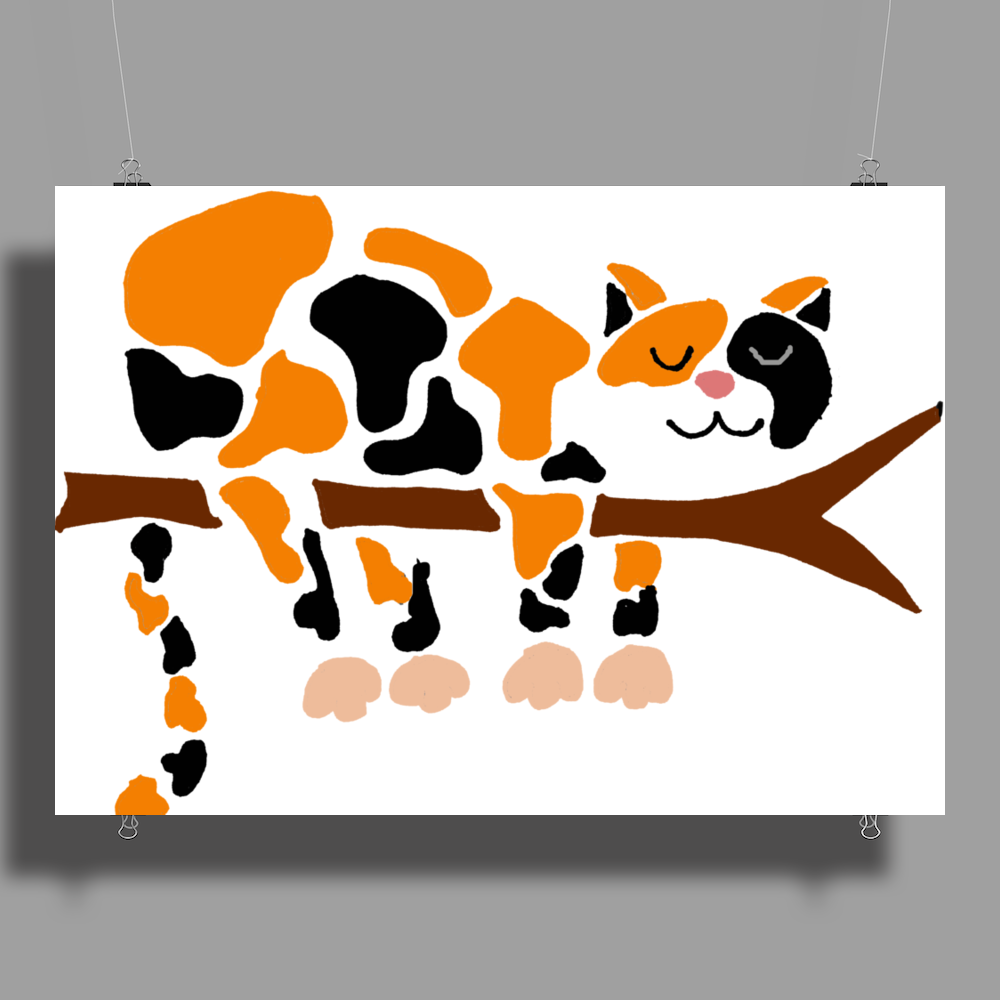 Funny Funky Calico Cat in Tree Art Poster Print (Landscape)