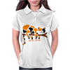 Funny Funky Calico Cat in Tree Art Womens Polo
